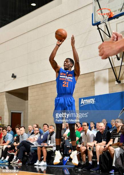Damyean Dotson of the New York Knicks shoots the ball against the Oklahoma City Thunder on July 3 2017 during the 2017 Summer League at Amway Center...