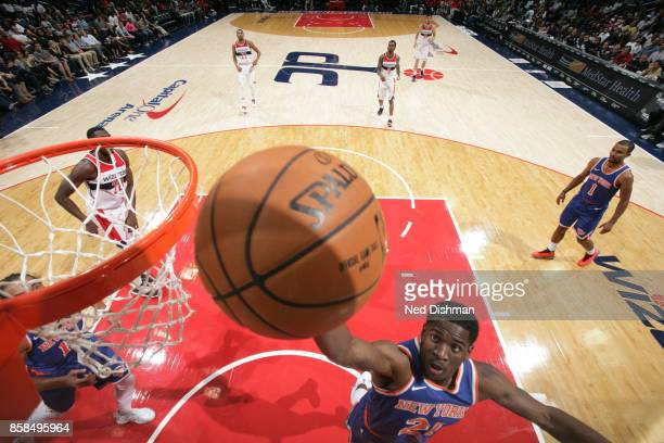 Damyean Dotson of the New York Knicks shoots the ball against the Washington Wizards during the preseason game on October 6 2017 at Capital One Arena...