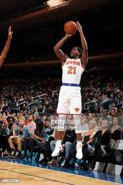 Damyean Dotson of the New York Knicks shoots the ball against the Houston Rockets during the preseason game on October 9 2017 at Madison Square...