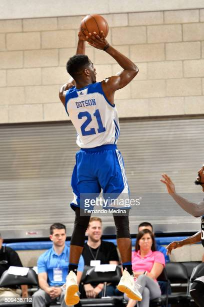 Damyean Dotson of the New York Knicks shoots the ball during the game against the Orlando Magic during the 2017 Orlando Summer League on July 5 2017...