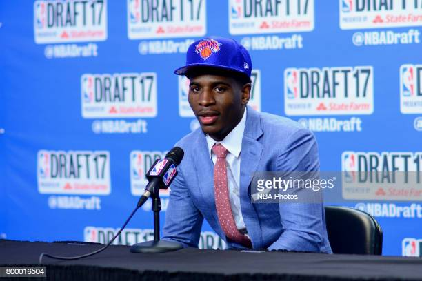 Damyean Dotson of the New York Knicks talks to the media after being selected 44th overall at the 2017 NBA Draft on June 22 2017 at Barclays Center...
