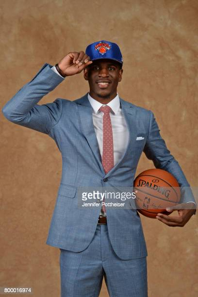 Damyean Dotson poses for a portrait after being drafted number fortyfour overall to the New York Knicks during the 2017 NBA Draft on June 22 2017 at...