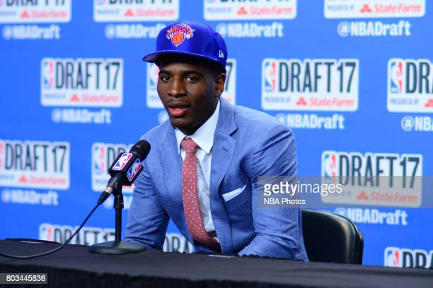 Damyean Dotson speaks with the media after being selected 44th overall by the New York Knicks at the 2017 NBA Draft on June 22 2017 at Barclays...