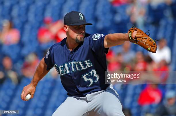 Dan Altavilla of the Seattle Mariners during a game against the Philadelphia Phillies at Citizens Bank Park on May 10 2017 in Philadelphia...