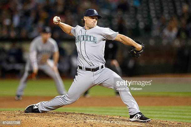 Dan Altavilla of the Seattle Mariners pitches against the Oakland Athletics during the seventh inning at the Oakland Coliseum on September 9 2016 in...