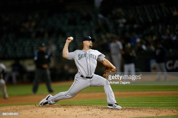Dan Altavilla of the Seattle Mariners pitches during the game against the Oakland Athletics at the Oakland Alameda Coliseum on April 20 2017 in...