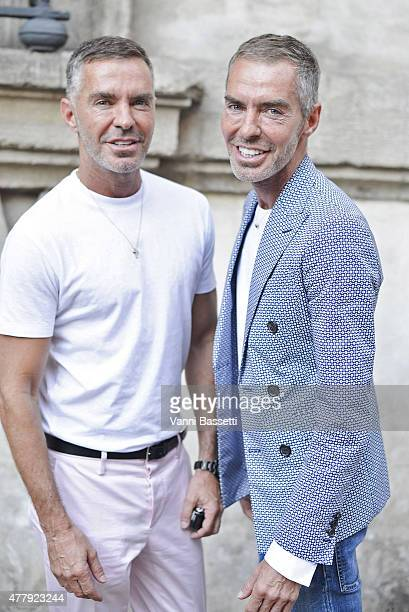 Dan and Dean Caten pose before the Neil Barrett show on June 20 2015 in Milan Italy