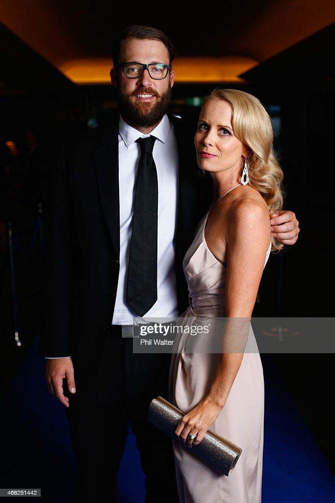 Dan and Mary Vettori arrive for the New Zealand Cricket Awards at The Langham Hotel on April 1 2015 in Auckland New Zealand