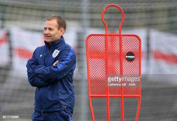 Dan Ashworth FA Director of Elite Development talks to Mark Sampson manager of England Women during the England Women's Training Session on July 29...