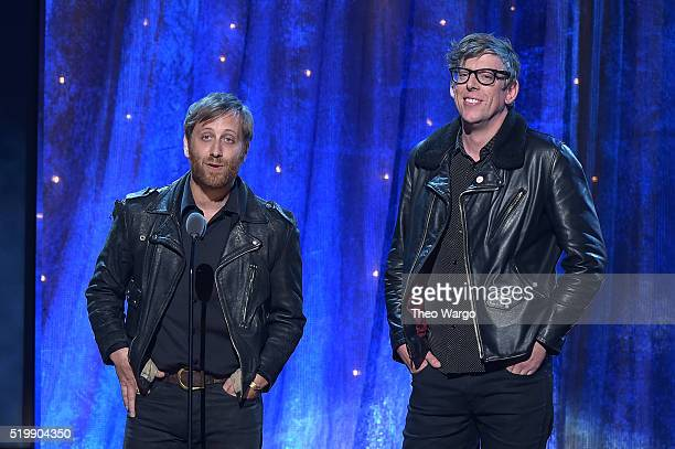 Dan Aurerbach and Patrick Carney of The Black Keys induct Steve Miller at the 31st Annual Rock And Roll Hall Of Fame Induction Ceremony at Barclays...