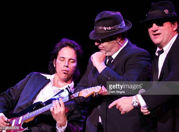 Dan Aykroyd and Jim Belushi and guitarist during Blues Brothers Fundraiser at Caesars Atlantic City January 222005 at Caesars Atlantic City in...