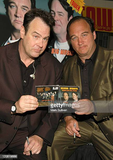 Dan Aykroyd and Jim Belushi during Jim Belushi And Dan Aykroyd Perform And Sign Their New CD at Tower Records in Sherman Oaks California United States
