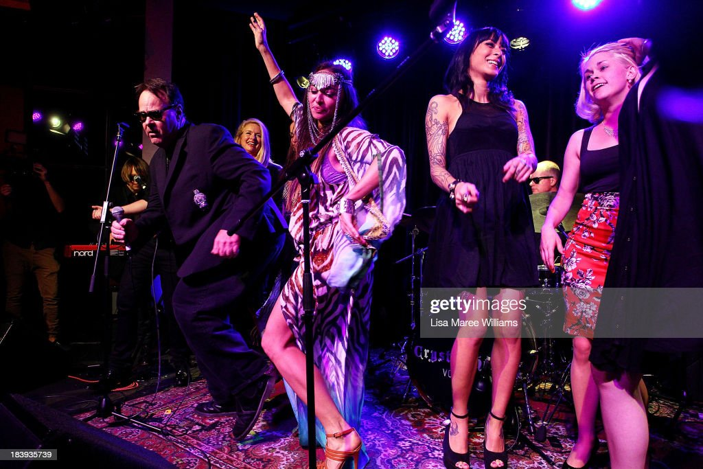 <a gi-track='captionPersonalityLinkClicked' href=/galleries/search?phrase=Dan+Aykroyd&family=editorial&specificpeople=206819 ng-click='$event.stopPropagation()'>Dan Aykroyd</a> dances with Camilla Franks and guests on stage during a 'Crystal Head Vodka' party at Rock Lily, The Star on October 10, 2013 in Sydney, Australia.