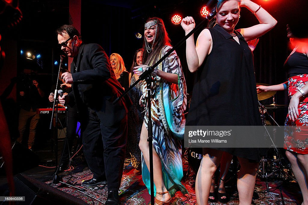 <a gi-track='captionPersonalityLinkClicked' href=/galleries/search?phrase=Dan+Aykroyd&family=editorial&specificpeople=206819 ng-click='$event.stopPropagation()'>Dan Aykroyd</a> on stage with Camilla Franks and guests during a 'Crystal Head Vodka' party at Rock Lily, The Star on October 10, 2013 in Sydney, Australia.