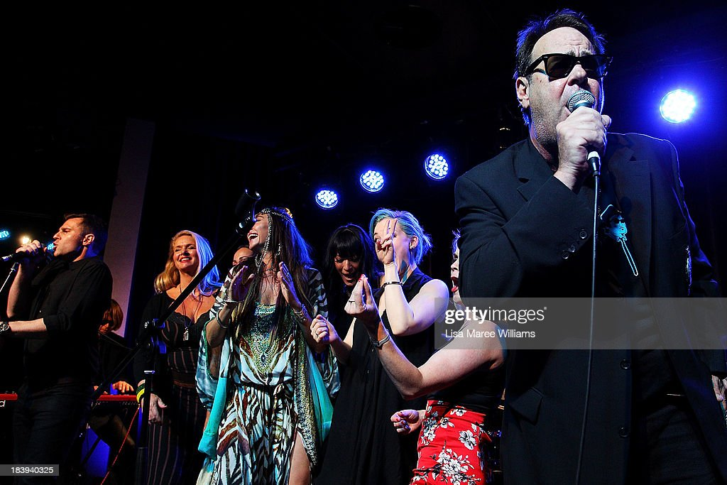 <a gi-track='captionPersonalityLinkClicked' href=/galleries/search?phrase=Dan+Aykroyd&family=editorial&specificpeople=206819 ng-click='$event.stopPropagation()'>Dan Aykroyd</a> performs on stage with David Campbell during a 'Crystal Head Vodka' party at Rock Lily, The Star on October 10, 2013 in Sydney, Australia.