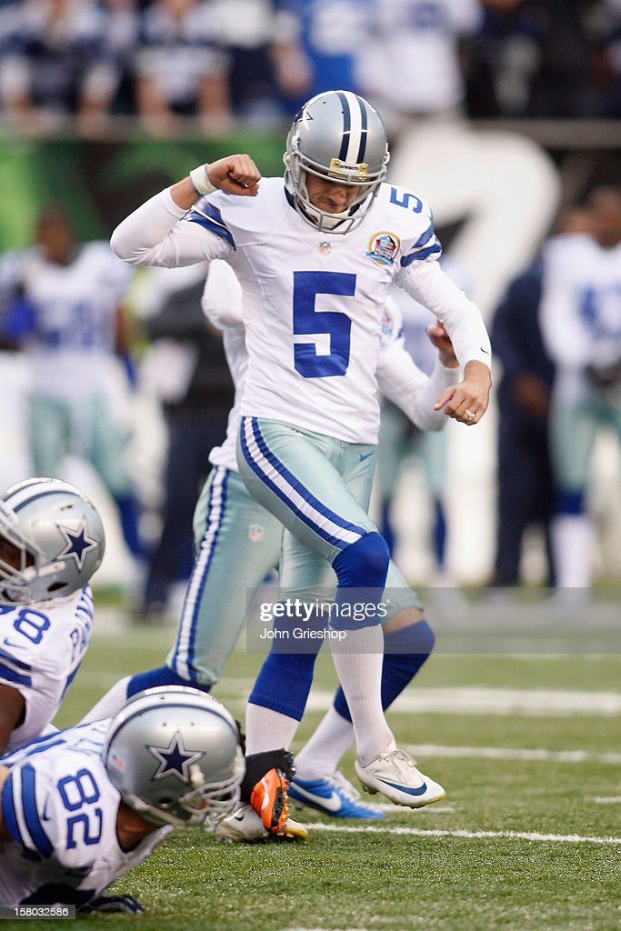 <a gi-track='captionPersonalityLinkClicked' href=/galleries/search?phrase=Dan+Bailey&family=editorial&specificpeople=6235010 ng-click='$event.stopPropagation()'>Dan Bailey</a> #5 of the Dallas Cowboys celebrates a game-winning field goal during the game against the Cincinnati Bengals at Paul Brown Stadium on December 9, 2012 in Cincinnati, Ohio. The Cowboys defeated the Bengals 20-19.