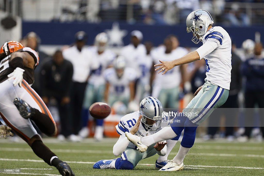 <a gi-track='captionPersonalityLinkClicked' href=/galleries/search?phrase=Dan+Bailey&family=editorial&specificpeople=6235010 ng-click='$event.stopPropagation()'>Dan Bailey</a> #5 of the Dallas Cowboys kicks the winning field goal in overtime against the Cleveland Browns at Cowboys Stadium on November 18, 2012 in Arlington, Texas. The Cowboys defeated the Browns 23-20.