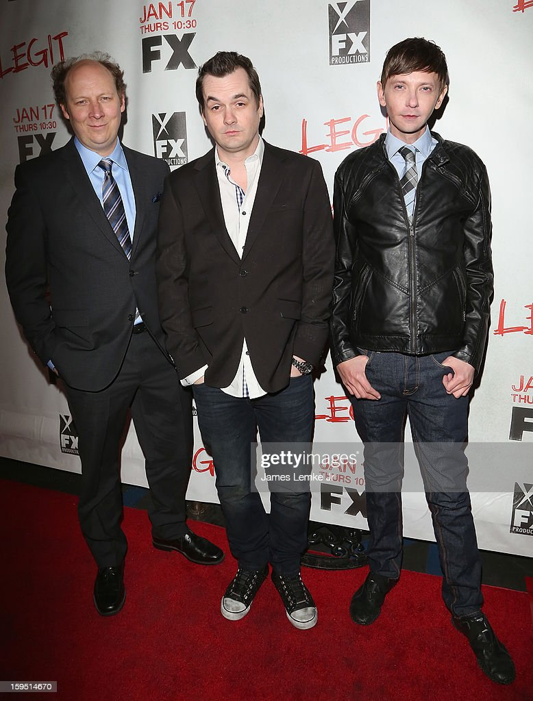 Dan Bakkedahl, Jim Jefferies and <a gi-track='captionPersonalityLinkClicked' href=/galleries/search?phrase=DJ+Qualls&family=editorial&specificpeople=216352 ng-click='$event.stopPropagation()'>DJ Qualls</a> attend the FX's New Comedy Series 'Legit' Premiere Screening held at the Fox Studio Lot on January 14, 2013 in Century City, California.