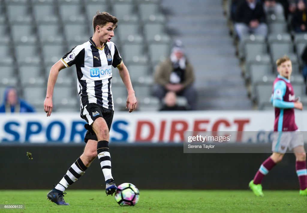 Dan Barlaser of Newcastle United (8) controls the ball during the Premier League 2 Match between Newcastle United and West Ham United at St.James' Park on March 13, 2017 in Newcastle upon Tyne, England.