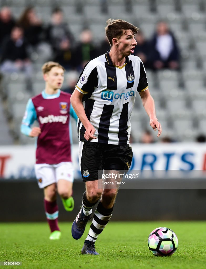 Dan Barlaser of Newcastle United (8) looks to pass the ball during the Premier League 2 Match between Newcastle United and West Ham United at St.James' Park on March 13, 2017 in Newcastle upon Tyne, England.