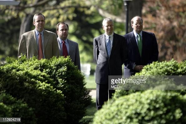 Dan Bartlett Scott McClellan new White House Chief of Staff Josh Bolton and Joe Hagin listen as President Bush introduces US Trade Representative Rob...