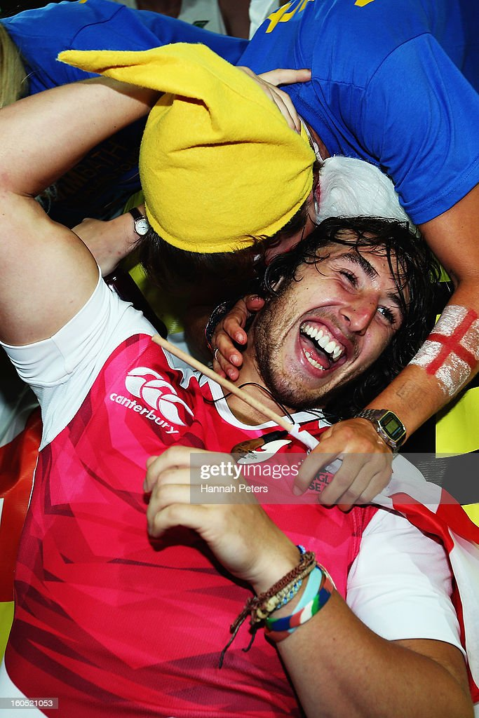 Dan Bibby of England celebrates with fans after winning the grand final between England and Kenya during the 2013 Wellington Sevens at Westpac Stadium on February 2, 2013 in Wellington, New Zealand.