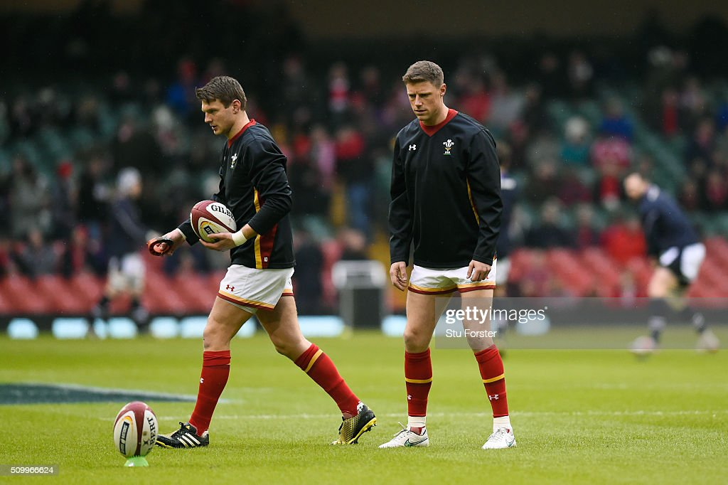 <a gi-track='captionPersonalityLinkClicked' href=/galleries/search?phrase=Dan+Biggar&family=editorial&specificpeople=5607224 ng-click='$event.stopPropagation()'>Dan Biggar</a> and <a gi-track='captionPersonalityLinkClicked' href=/galleries/search?phrase=Rhys+Priestland&family=editorial&specificpeople=4195648 ng-click='$event.stopPropagation()'>Rhys Priestland</a> of Wales warm up prrior to kickoff during the RBS Six Nations match between Wales and Scotland at the Principality Stadium on February 13, 2016 in Cardiff, Wales.