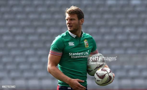 Dan Biggar looks on during the British Irish Lions kicking session held at the Eden Park Stadium on June 6 2017 in Auckland New Zealand