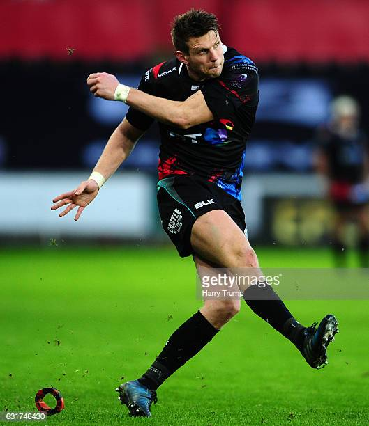 Dan Biggar of Ospreys during the European Rugby Challenge Cup match between Ospreys and Lyon at the Liberty Stadium on January 15 2017 in Swansea...