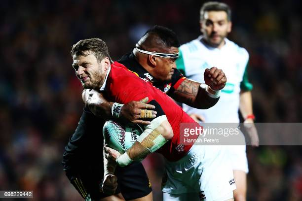 Dan Biggar of the Lions charges forward during the match between the Chiefs and the British Irish Lions at Waikato Stadium on June 20 2017 in...