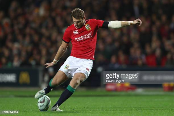 Dan Biggar of the Lions kicks a penalty during the 2017 British Irish Lions tour match between the Chiefs and the British Irish Lions at the Waikato...