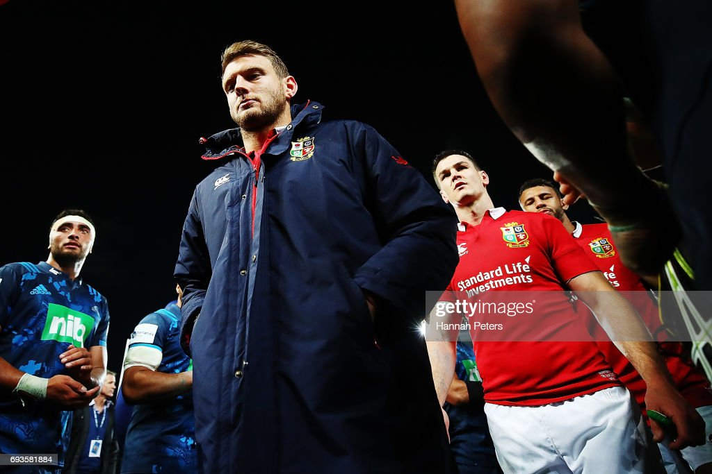 Dan Biggar of the Lions walks off after losing the match between the Auckland Blues and the British & Irish Lions at Eden Park on June 7, 2017 in Auckland, New Zealand.