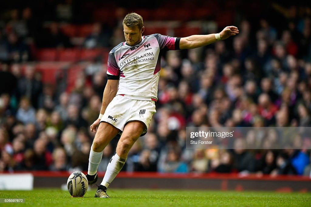 Dan Biggar of the Ospreys kicks at goal during the Guinness Pro 12 match between Cardiff Blues and Ospreys at Principality Stadium on April 30, 2016 in Cardiff, United Kingdom.