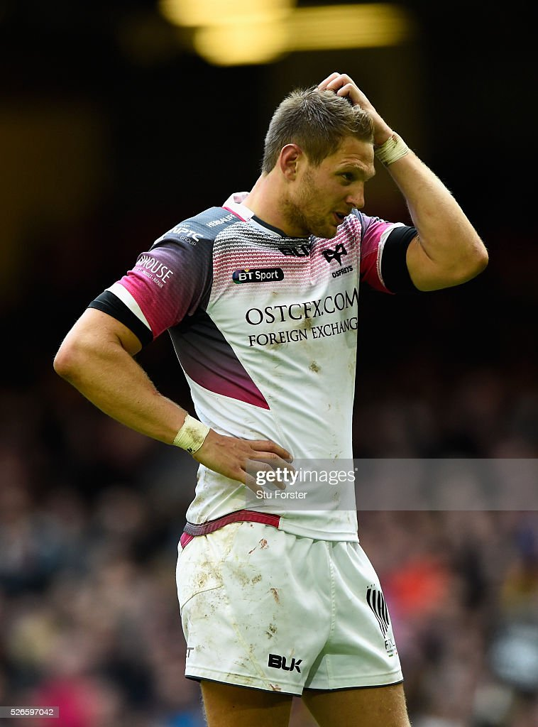 <a gi-track='captionPersonalityLinkClicked' href=/galleries/search?phrase=Dan+Biggar&family=editorial&specificpeople=5607224 ng-click='$event.stopPropagation()'>Dan Biggar</a> of the Ospreys reactsl during the Guinness Pro 12 match between Cardiff Blues and Ospreys at Principality Stadium on April 30, 2016 in Cardiff, United Kingdom.