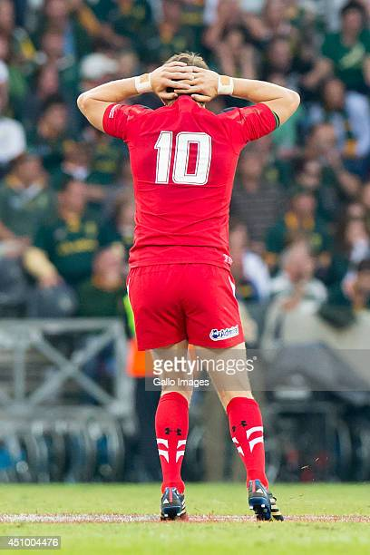 Dan Biggar of Wales after missing a drop kick to win the game during the 2nd test match between South Africa and Wales at Mbombela Stadium on June 21...