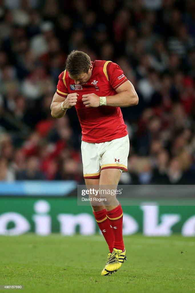 Dan Biggar of Wales celebrates kicking the winning penalty during the 2015 Rugby World Cup Pool A match between England and Wales at Twickenham...