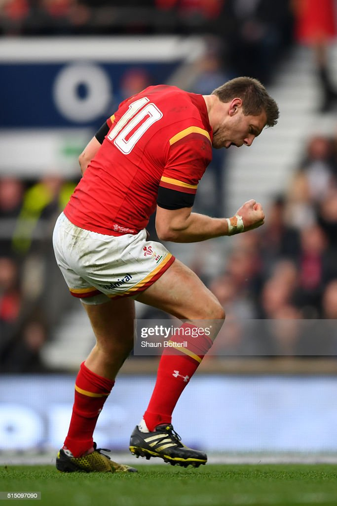 Dan Biggar of Wales celebrates scoring his team's opening try during the RBS Six Nations match between England and Wales at Twickenham Stadium on...