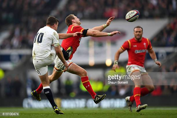 Dan Biggar of Wales charges down a kick by George Ford of England leading to his try during the RBS Six Nations match between England and Wales at...