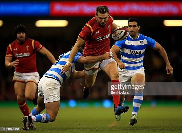 Dan Biggar of Wales is tackled by Ramiro Moyano of Argentina during the International Match between Wales and Argentina at Principality Stadium on...