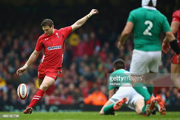 Dan Biggar of Wales kicks a drop goal during the RBS Six Nations match between Wales and Ireland at the Millennium Stadium on March 14 2015 in...