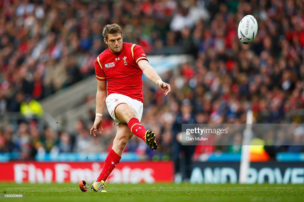 Dan Biggar of Wales kicks a penalty during the 2015 Rugby World Cup Quarter Final match between South Africa and Wales at Twickenham Stadium on...
