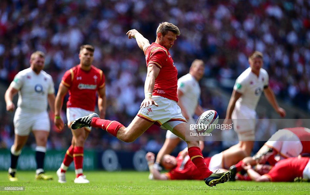 <a gi-track='captionPersonalityLinkClicked' href=/galleries/search?phrase=Dan+Biggar&family=editorial&specificpeople=5607224 ng-click='$event.stopPropagation()'>Dan Biggar</a> of Wales kicks clear during the Old Mutual Wealth Cup match between England and Wales at Twickenham Stadium on May 29, 2016 in London, England.