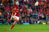 Dan Biggar of Wales misses a penalty during the 2015 Rugby World Cup Pool A match between Australia and Wales at Twickenham Stadium on October 10...