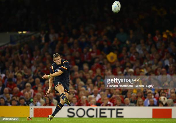 Dan Biggar of Wales scores a penalty to claim a 10 point lead during the 2015 Rugby World Cup Pool A match between Wales and Fiji at the Millennium...
