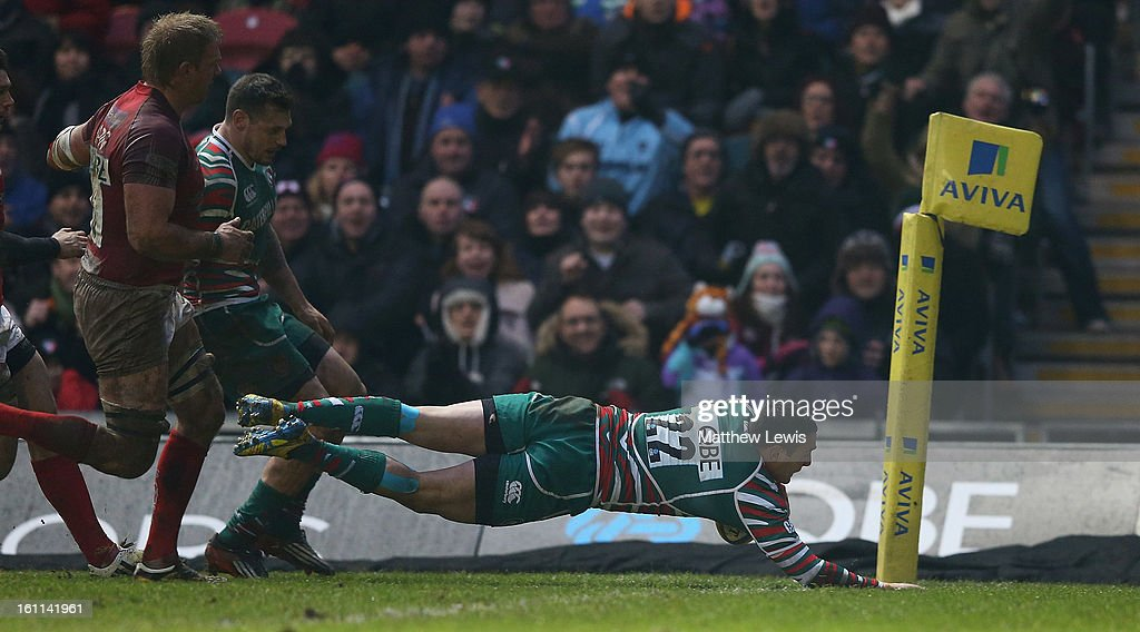 Dan Bowden of Leicester scores a try during the Aviva Premiership match between Leicester Tigers and London Welsh at Welford Road on February 9, 2013 in Leicester, England.