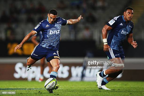 Dan Bowden of the Blues kicks a penalty during the round nine Super Rugby match between the Blues and the Brumbies at Eden Park on April 10 2015 in...