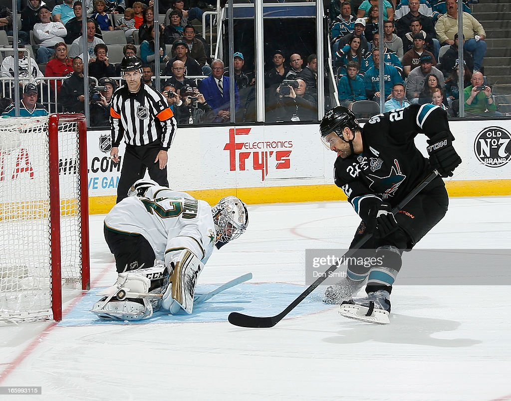 Dan Boyle #22 of the San Jose Sharks can't score in the shoot out against Kari Lehtonen #32 of the Dallas Stars during an NHL game on April 7, 2013 at HP Pavilion in San Jose, California.