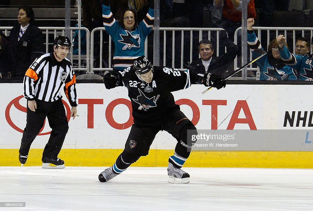 <a gi-track='captionPersonalityLinkClicked' href=/galleries/search?phrase=Dan+Boyle&family=editorial&specificpeople=201502 ng-click='$event.stopPropagation()'>Dan Boyle</a> #22 of the San Jose Sharks celebrates after he got the winning shot by goalkeeper Devan Dubnyk #40 of the Edmonton Oilers to win the game 3-2 in an over time shoot-out at HP Pavilion on January 31, 2013 in San Jose, California.