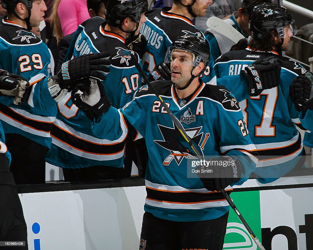 <a gi-track='captionPersonalityLinkClicked' href=/galleries/search?phrase=Dan+Boyle&family=editorial&specificpeople=201502 ng-click='$event.stopPropagation()'>Dan Boyle</a> #22 of the San Jose Sharks celebrates his goal against the Nashville Predators during an NHL game on March 2, 2013 at HP Pavilion in San Jose, California.