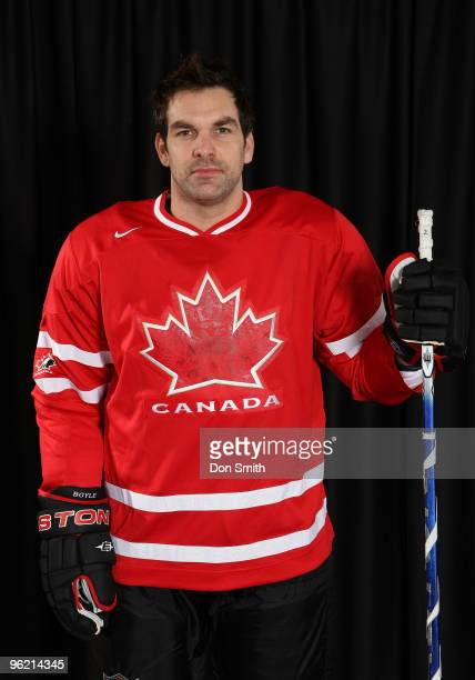 Dan Boyle of the San Jose Sharks poses for his Olympic Photo Shoot in his team Canada jersey for the 2010 Olympics